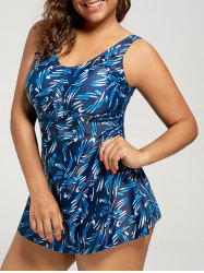 Plus Size Padded Skirted Printed Tankini Set