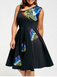 A Line Sleeveless Butterfly Embroidered Plus Size Dress