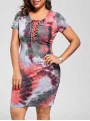 Plus Size Lace Up Tie Dye Dress
