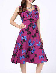Sweetheart Neck Butterfly Print Vintage Dress