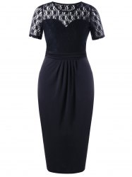 Plus Size Sheer Lace Trim Pencil Dress