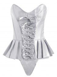 Pleated Lace-Up Bowknot Corset - WHITE 2XL