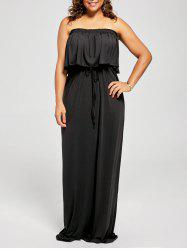 Flounce Plus Size Maxi Strapless Sleeveless Prom Dress
