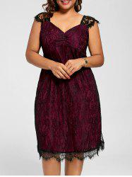 Lace Mini A Line Plus Size Cocktail Dress