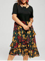 Ruffle A Line Leaf Print Plus Size Dress