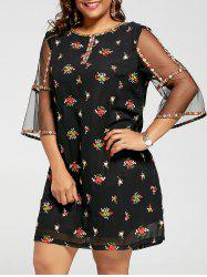 Plus Size Mesh Trim Embroidered Dress