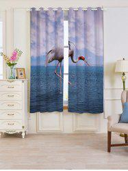 2 Panels Sea Flamingo Blackout Window Curtains - LAKE BLUE W53 INCH * L63 INCH