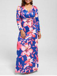 V Neck Floor Length Floral Plus Size Dress