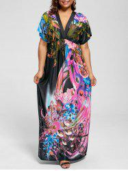 Short Sleeve Plus Size Printed Maxi Dress