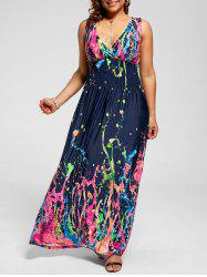 Empire Waist Sleeveless Plus Size Maxi Splatter Print Dress - MULTI
