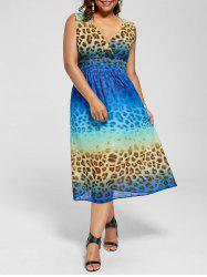 Leopard Print V Neck Sleeveless Plus Size Dress