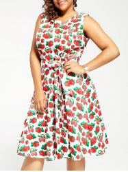 Vintage Strawberry Print Plus Size Pin Up Dress