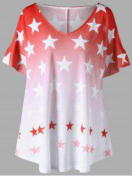 Plus Size Cold Shoulder Ombre Star Print Top -