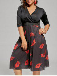 Floral Plus Size A Line Homecoming Dress