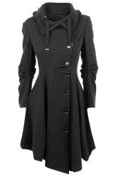 Asymmetrical Maxi Flare Coat - BLACK