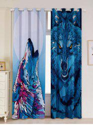 2 Panel Wolf Animal Window Screen Blackout Curtain - BLUE W53 INCH * L84.5 INCH