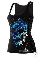 Lace Up Skulls Butterfly Print Tank Top - COLORMIX M