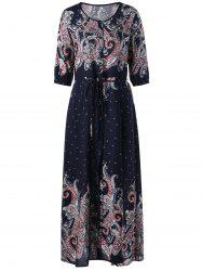 Paisley Print Belted Button Down Maxi Dress