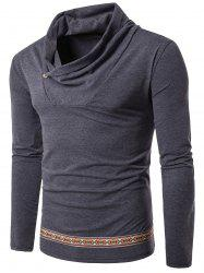 Tribal Embroidered Cowl Neck Long Sleeve T-shirt - GRAY