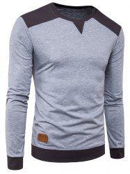 Long Sleeve Color Block Panel PU Leather Applique T-shirt - LIGHT GRAY
