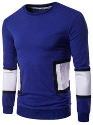 Long Sleeve Color Block Panel Design Graphic Print T-shirt - CADETBLUE