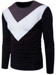 Inverted Triangle Color Block Panel Long Sleeve T-shirt