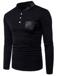 Color Block Panel Stand Collar Pocket Long Sleeve T-shirt - BLACK