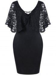 Lace Batwing Sleeve Plus Size Bodycon Dress - BLACK