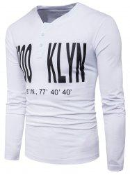 V Neck Long Sleeve Graphic Print Henley T-shirt