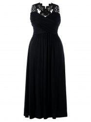 Plus Size Empire Waist Lace Insert Maxi Dress