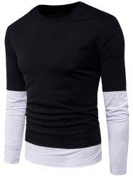 Long Sleeve Striped Panel Faux Twinset T-Shirt
