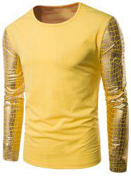 Gilding Checked Panel Crew Neck Long Sleeve T-shirt - YELLOW