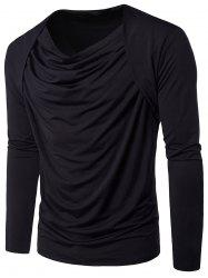 Pleated Cowl Neck Long Sleeve Hip Hop T-shirt - BLACK