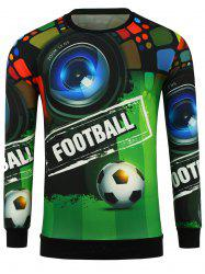 3D Football and Camera Print Crew Neck Sweatshirt