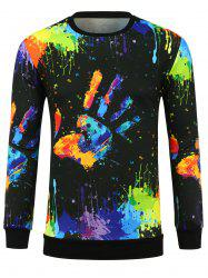 3D Colorful Hand Splatter Paint Print Crew Neck Sweatshirt - COLORMIX