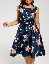 Plus Size Sleeveless Floral Tea Length Dress -