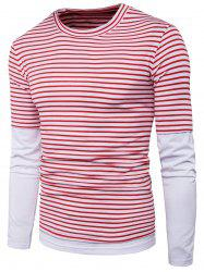 Long Sleeve Faux Twinset Stripe Panel T-shirt