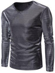 Gilding V Neck Long Sleeve T-Shirt