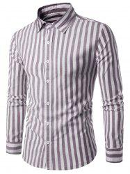 Turndown Collar Long Sleeve Vintage Stripe Shirt