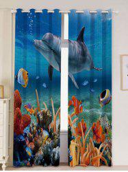 2Pcs Ocean Dolphin Blackout Window Curtains -