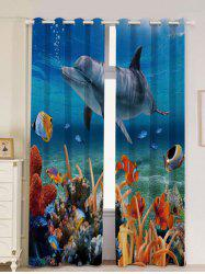 2Pcs Ocean Dolphin Blackout Window Curtains