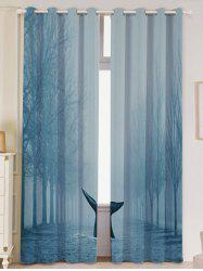 2 Pieces Blackout Screen Mist Whale Window Curtain