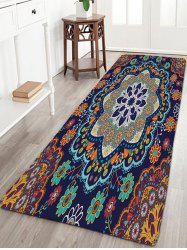 Flannel Antislip Bohemian Flower Bath Rug - CADETBLUE