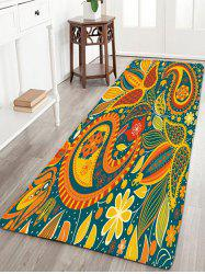 Bohemian Floral Print Skidproof Flannel Rug