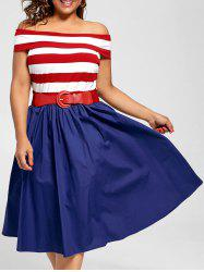 Off The Shoulder Striped Vintage Plus Size Dress