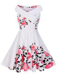 V Neck Floral Plus Size Vintage Dress
