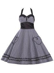 Halter Plaid Vintage Plus Size Dress - BLACK 3XL