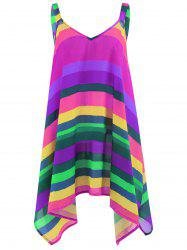 Plus Size Rainbow Striped Spaghetti Strap Top - Purple - 5xl