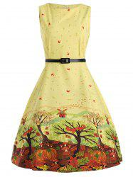 Sleeveless Printed A Line Dress with Belt - YELLOW M