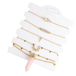 Bracelet and Natural Stone Necklace Set - GOLDEN